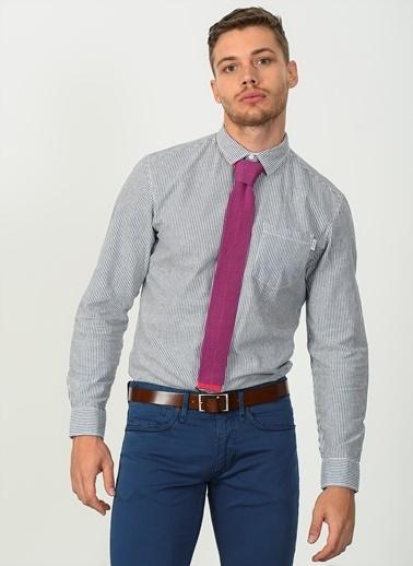 Jack & Jones Çizgili Uzun Kollu Slim Fit Gömlek Füme